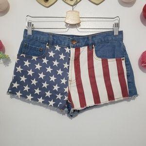 FOREVER 21 american flag denim shorts 27